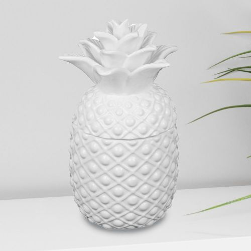 White Ceramic Pineapple Pot With Lid Storage Jar Cookie Jar